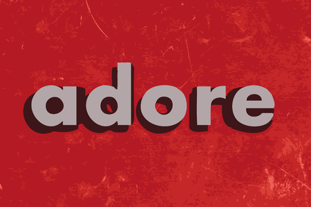 adore: adore vector word on red concrete wall