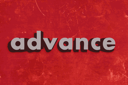 advance: advance vector word on red concrete wall