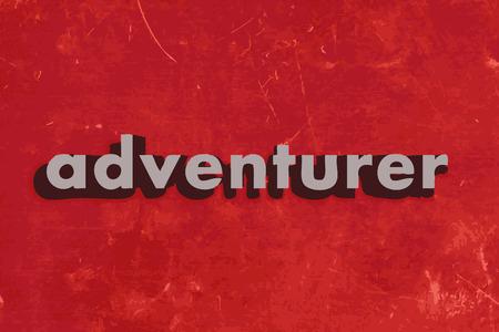 adventurer: adventurer vector word on red concrete wall
