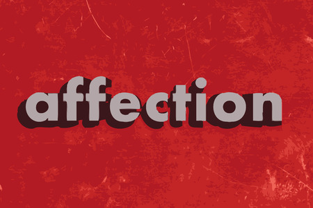 affection: affection vector word on red concrete wall