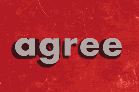 agree: agree vector word on red concrete wall