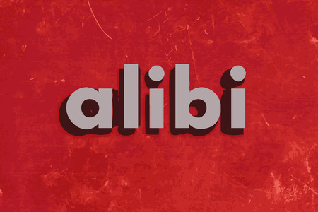 alibi: alibi vector word on red concrete wall Illustration