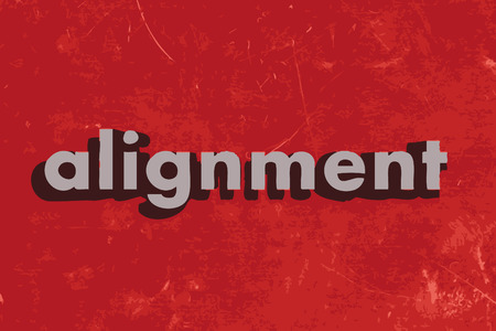 alignment: alignment vector word on red concrete wall