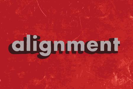 alignment: palabra vector de alineaci�n en rojo muro de hormig�n