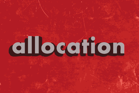 allocation: allocation vector word on red concrete wall
