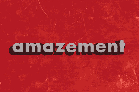 amazement: amazement vector word on red concrete wall