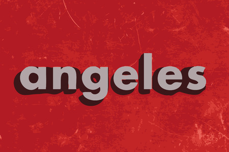 angeles: angeles vector word on red concrete wall
