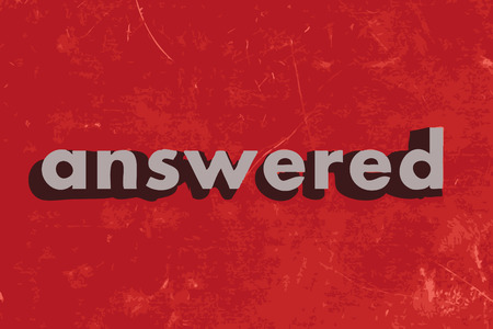 answered: answered vector word on red concrete wall Illustration