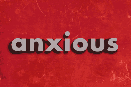 anxious: anxious vector word on red concrete wall