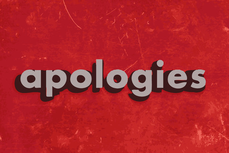 apologies vector word on red concrete wall