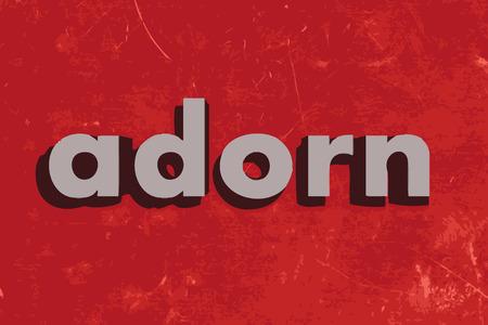 adorn: adornar palabra vector en rojo muro de hormig�n Vectores