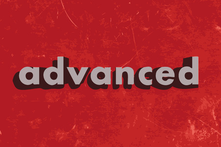 advanced: advanced vector word on red concrete wall