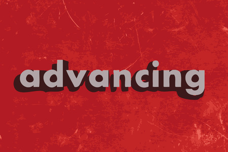 advancing: advancing vector word on red concrete wall Illustration