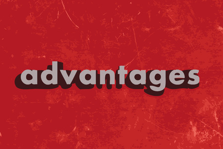 advantages: advantages vector word on red concrete wall