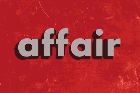 affair: affair vector word on red concrete wall