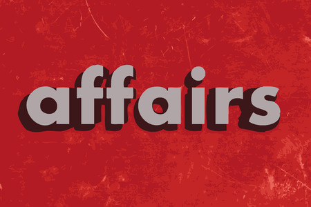 affairs: affairs vector word on red concrete wall Illustration