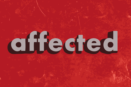 affected: affected vector word on red concrete wall Illustration