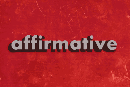 affirmative: affirmative vector word on red concrete wall Illustration