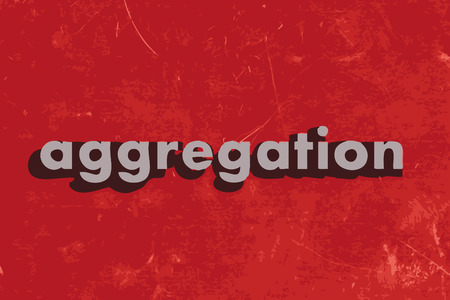 aggregation: aggregation vector word on red concrete wall Illustration