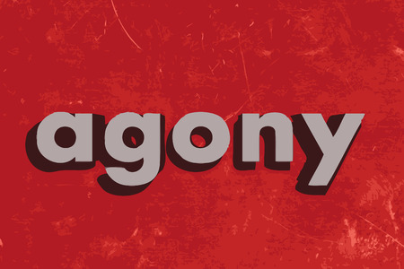 agony: agony vector word on red concrete wall Illustration