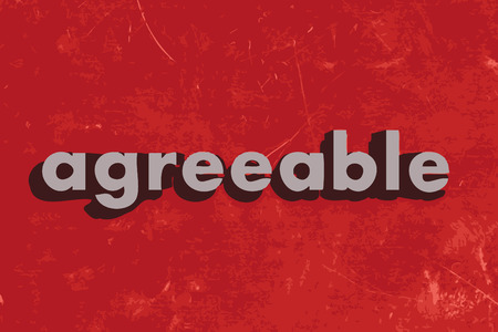 agreeable: agreeable vector word on red concrete wall Illustration