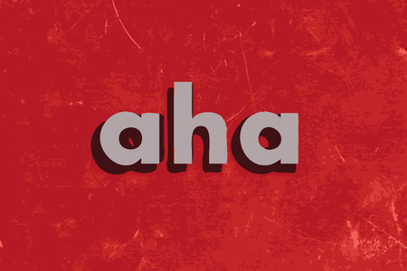 aha: aha vector word on red concrete wall