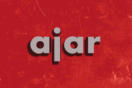 ajar: ajar vector word on red concrete wall