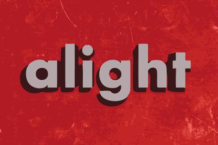 alight: scendere vettore parola sul muro di cemento rosso