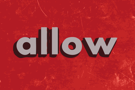 allow: allow vector word on red concrete wall Illustration
