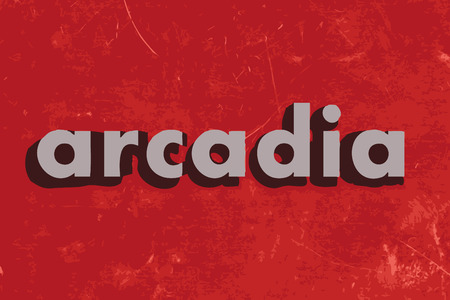 and arcadia: arcadia vector word on red concrete wall