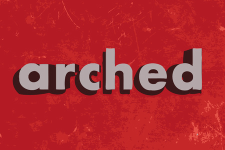 arched: arched vector word on red concrete wall Illustration