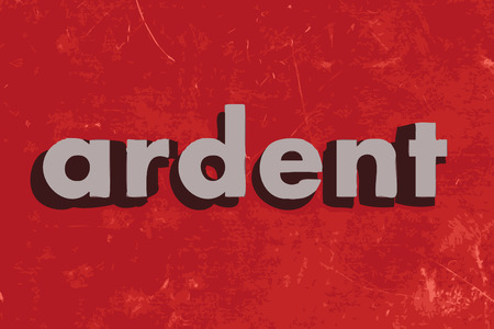 ardent: ardent vector word on red concrete wall Illustration