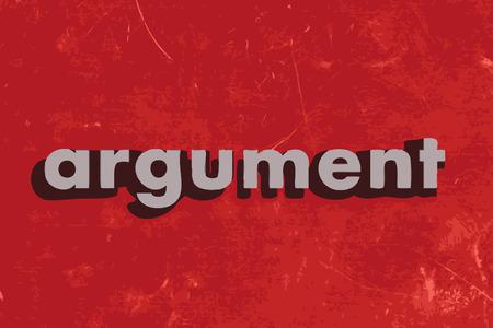 argumento: palabra argumento del vector en rojo muro de hormig�n