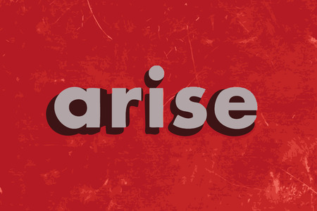 arise: arise vector word on red concrete wall Illustration
