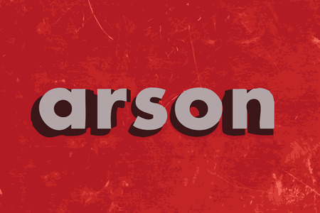 arson: arson vector word on red concrete wall