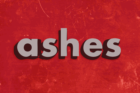 the ashes: ashes vector word on red concrete wall