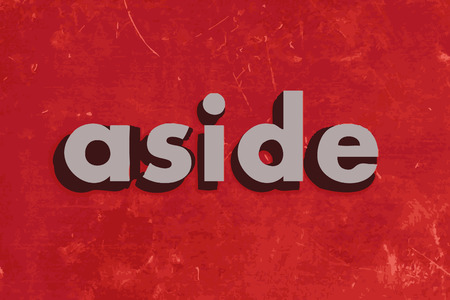 aside: aside vector word on red concrete wall