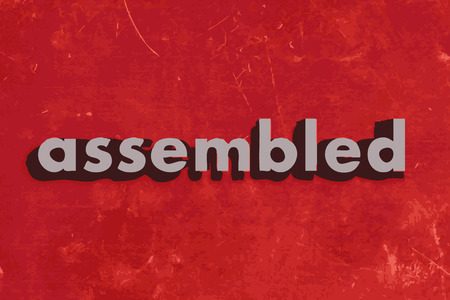 assembled: assembled vector word on red concrete wall Illustration