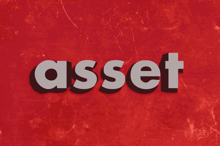 asset: asset vector word on red concrete wall