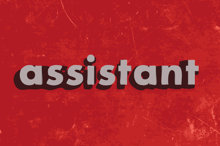 assistant: assistant vector word on red concrete wall