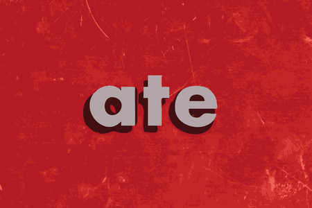 ate: ate vector word on red concrete wall