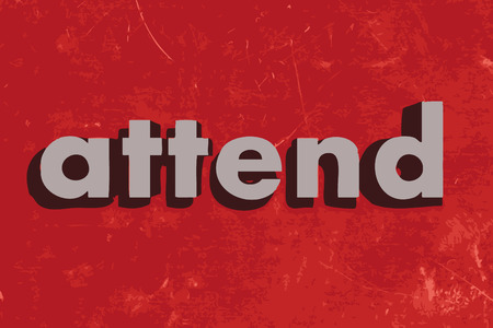 attend: attend vector word on red concrete wall