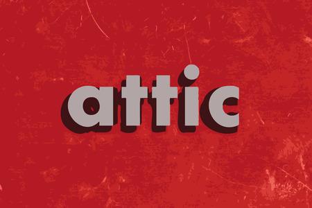 attic: attic vector word on red concrete wall