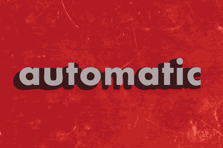 automatic: automatic vector word on red concrete wall Illustration