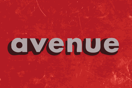 avenue: avenue vector word on red concrete wall