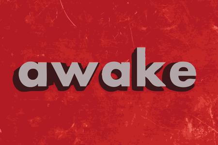 awake: awake vector word on red concrete wall