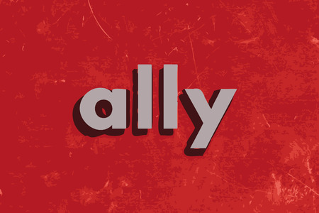 an ally: ally vector word on red concrete wall