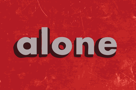 alone: alone vector word on red concrete wall