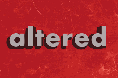 altered: altered vector word on red concrete wall
