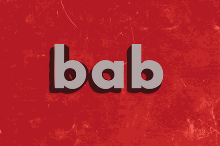 bab: bab vector word on red concrete wall Illustration